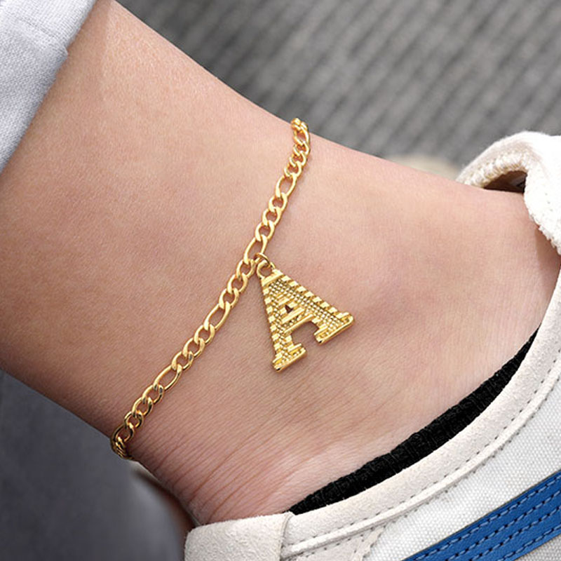 Gold Color 26 Letter A-Z Anklets Initial Women Fashion English Alphabet Chain Ankle Jewelry Gift Length 21cm+10cm Extend Chain
