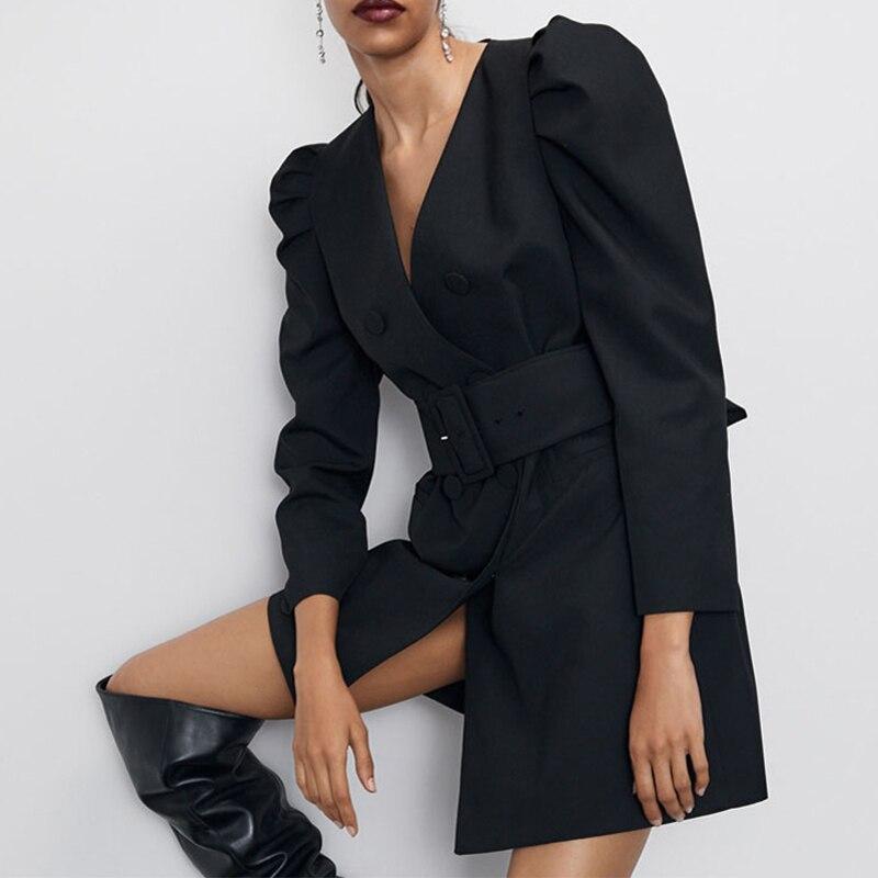 Весеннее черное тонкое женское платье-блейзер с поясом, элегантные двубортные Женские блейзеры, куртки, модные женские Лоскутные Платья