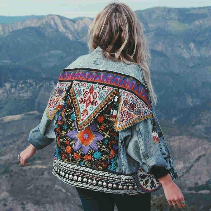 TEELYNN Boho Denim Jacket For Women Autumn Floral Appliques Embroidery Vintage Coat Long Sleeve Outerwear Female Jacket Coatee