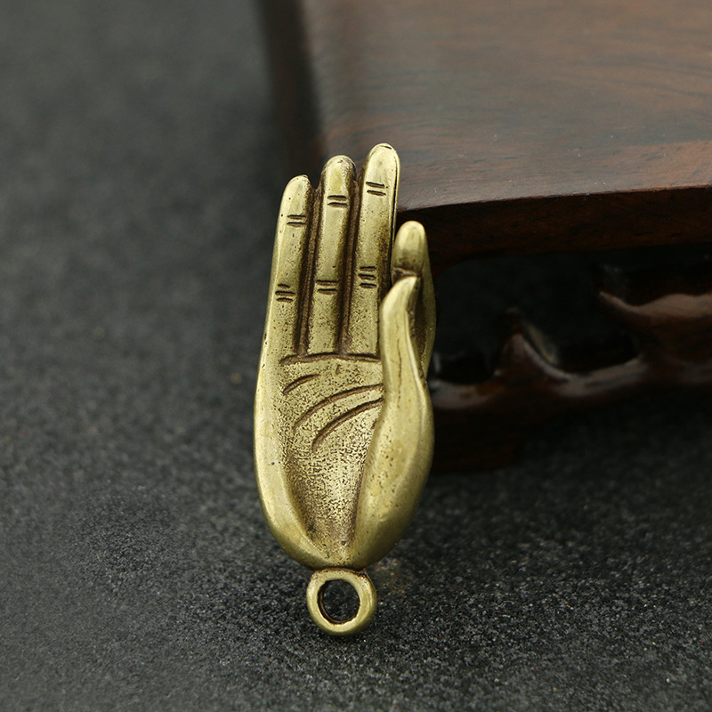Mini Brass Buddha Zen Gesture Finger Hands Portable Vintage Statue Metal Keychain Ornament Props Toy Gift