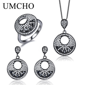 UMCHO Black Color Fine Jewelry 925 Sterling Silver Necklaces Drop Earrings Rings For Women Party Gift Jewelry Set