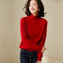 Jerséis de lana de Cachemira de cuello alto para mujer jersey de manga larga de talla grande tejido rojo suelto femenino 2020 Otoño Invierno envío gratis