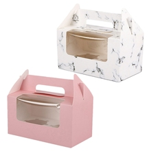 60Pcs Cup Cake Box,Mousse Cake,Transparent Window + Inner Support, Party Gift Packaging, 30 Pcs Marble & 30Pcs Pink