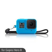 Zachte Siliconen Case Voor Gopro Hero 8 Case Zwart Blauw Beschermende Cover Shell Voor Gopro Hero 8 Len Cap Action camera Accessoires