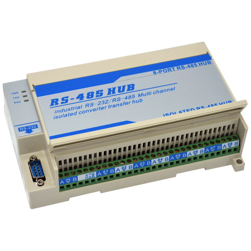 Lightning Protection Isolated Two Sizes 8-way Eight-port RS485 Hub Repeater Splitter Module Sharing Device