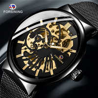 FORSINING Men's Watch Full Stainless Steel Transparent Automatic Mechanical Watch Skeleton Steampunk Clock Men Relogio Masculino