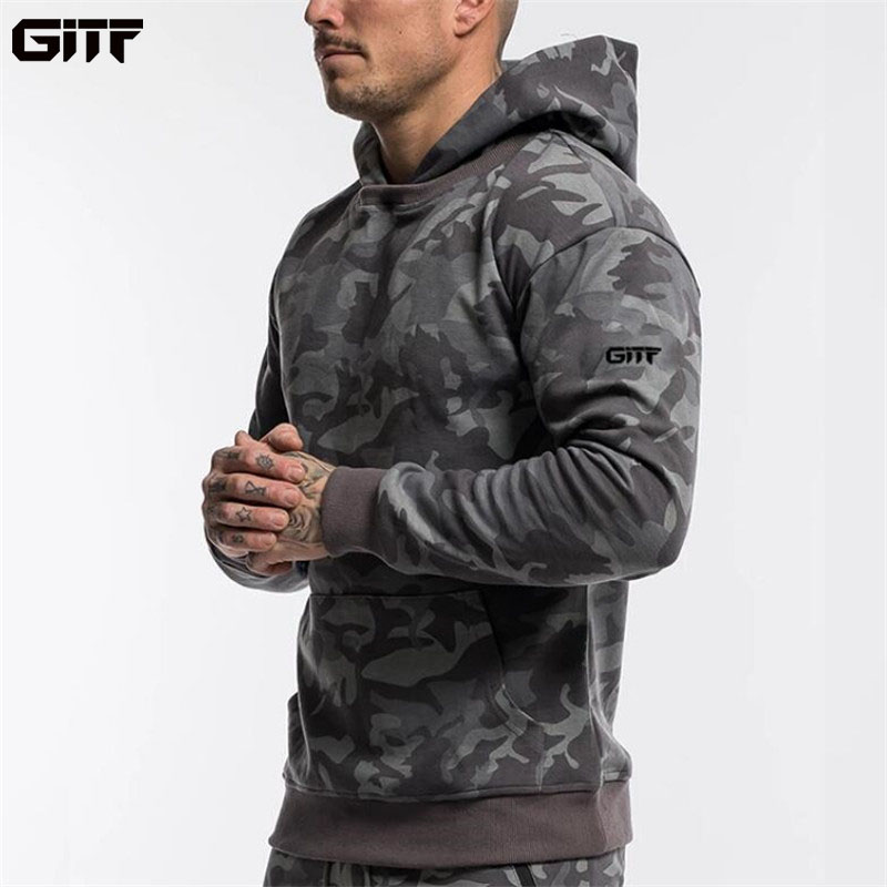 GITF Mens Hooded Running Jacket Gym Training Fitness Sportswear Camouflage sports Coat Outdoor Jogging Jackets Men Tracksuit