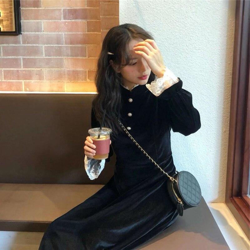 Long Skirts WOMEN'S Dress 2020 New Style Fashion Base Underwear Hepburn Black Dress Gold Velvet Dress Children Spring WOMEN'S Dr
