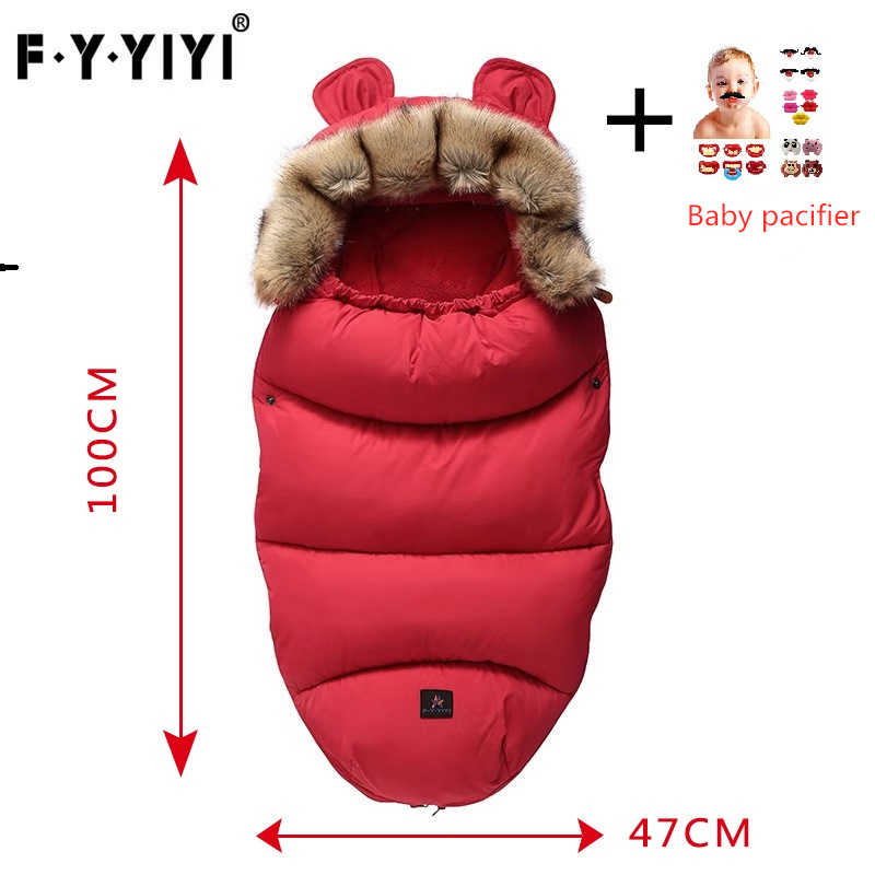 Baby Sleeping Bag Stroller Sleeping Bag Spring Winter Warm Sleepsacks Robe 0-24 Months Infant Thick Warm Envelopes Pacifier Gift