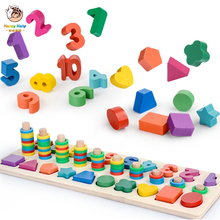 Kids Wooden Montessori Puzzle Shape Number Digital Logarithm Board Games Teaching Aids Early Educational Math Toy For Children