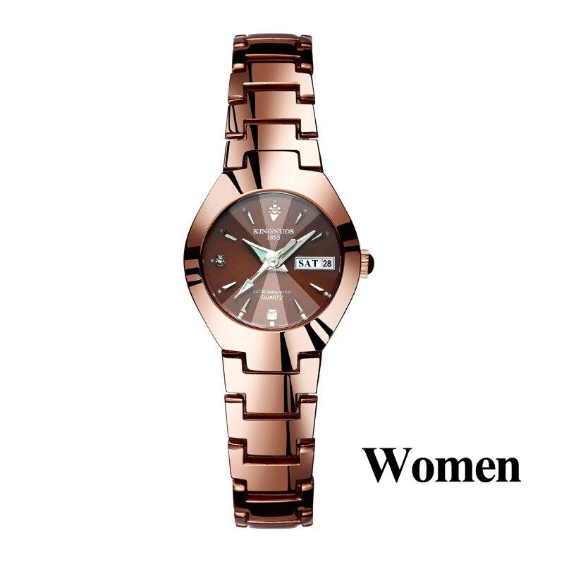 Часы для влюбленных Роскошные Кварцевые наручные часы для мужчин и женщин Hodinky Dual Calender Week steel Saat Reloj Mujer Hombre парные часы - Цвет: Women Coffee Gold