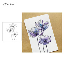 JC Clear Stamps Sketch 3pcs Nice Flowers Decoration Rubber Silicone Scrapbooking Paper Card Making Craft New Stamp 2019