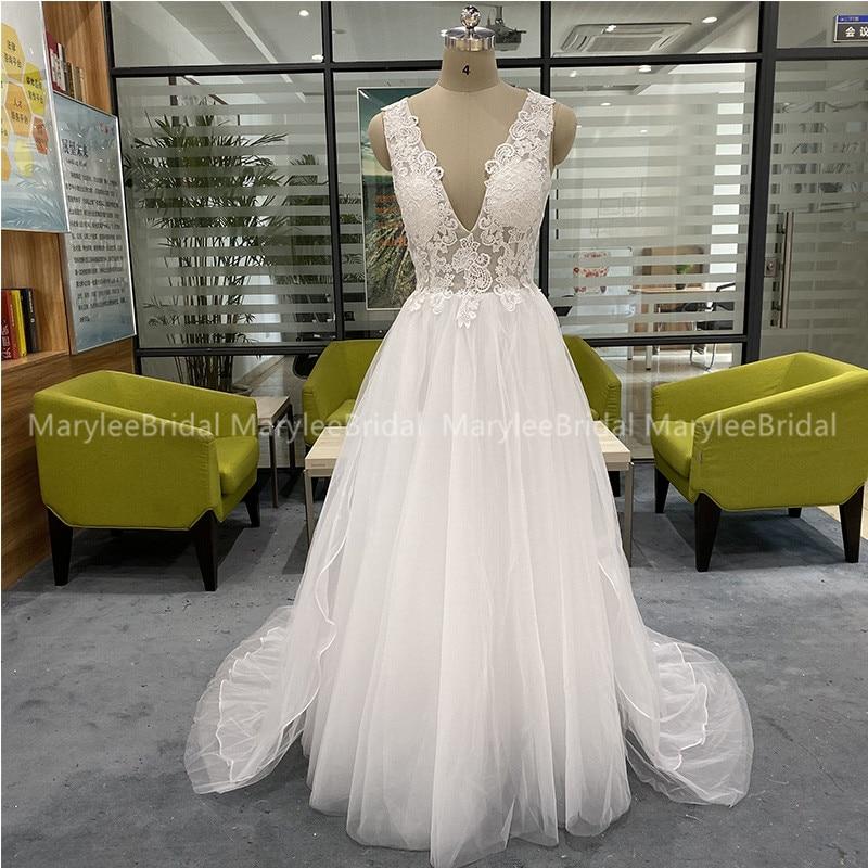 Hot Sale Boho Wedding Dresses With Detachable Train Deep V-neck White Bride Dress Backless Chapel Train Suknia Slubna Real Photo