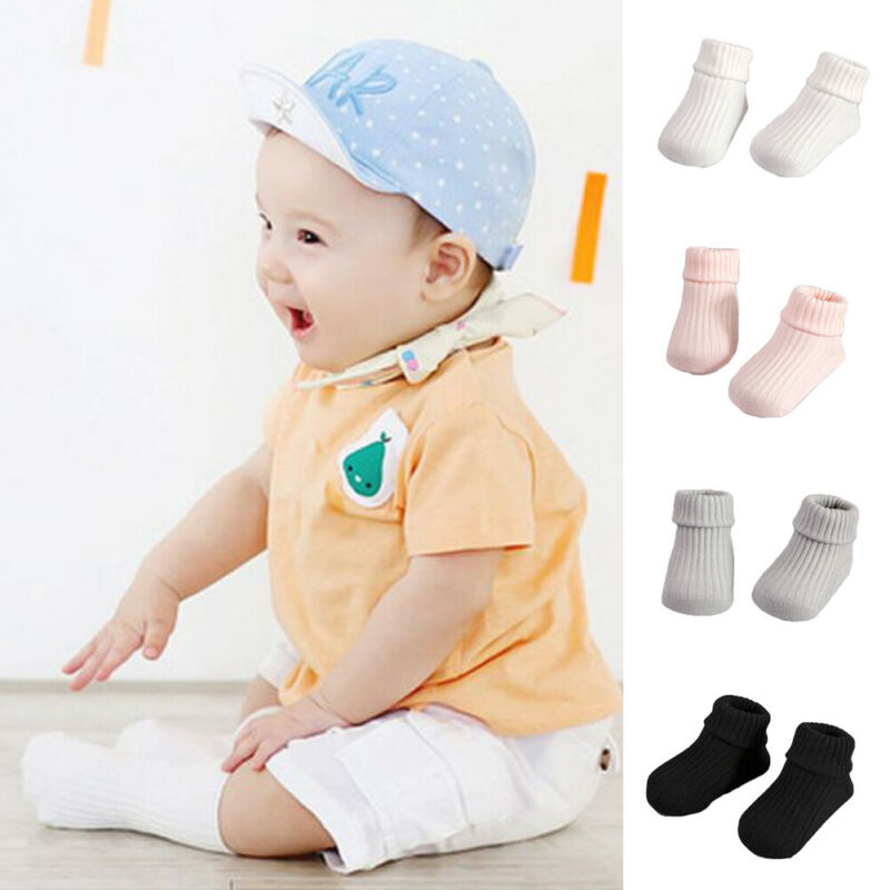 Baby Boy Girl Socks 12 Pairs White Pink Gray Solid Color Cotton Socks for Newborn Infant Toddler