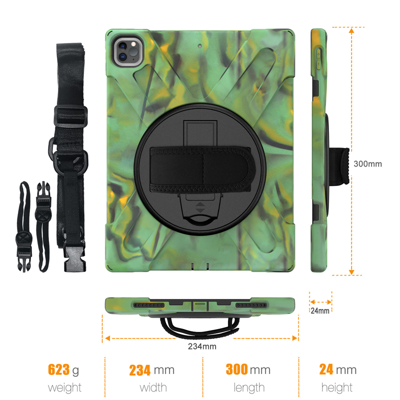 iPad Kickstand Case with 12.9 Rugged Protection A2461 Cover Pro Hand+Neck 2021 Heavy A2379 Strap Duty A2462 For