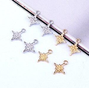 10pcs Meteor Hexagram Pentagram Star Charms Earring Alloy Findings Diy Pendant For Jewelry Make Gold Silver Bracelet Make C625(China)