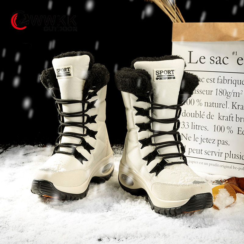 WWKK Boots Winter Shoes Women Warm Fur Snow Boots Woman Cotton Shoes Female High Top Ankle Boots Wear Resistant Bota Feminina