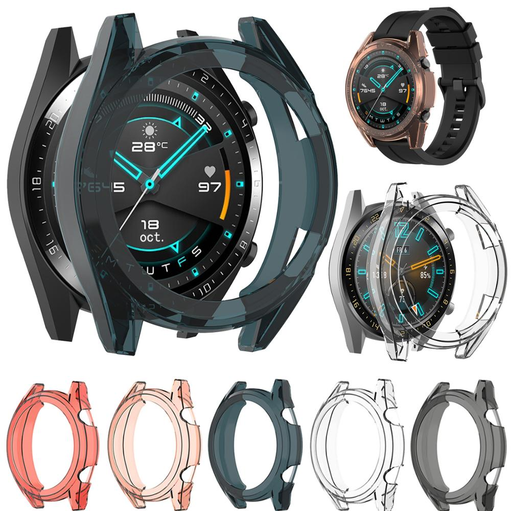 Silicone Shockproof Protective Case Cover For Huawei Watch GT 42mm 46mm GT2 GT 2 Soft Transparent TPU Protector Shell Frame