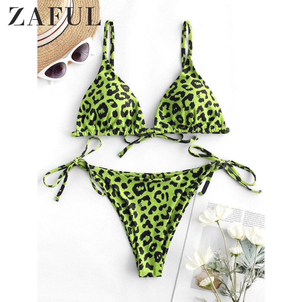 ZAFUL Bikini Leopard Tie Side Bikini Set Spaghetti Straps Low Waisted Swimsuit Padded Bathing Suit Women String Swimwear Biquini