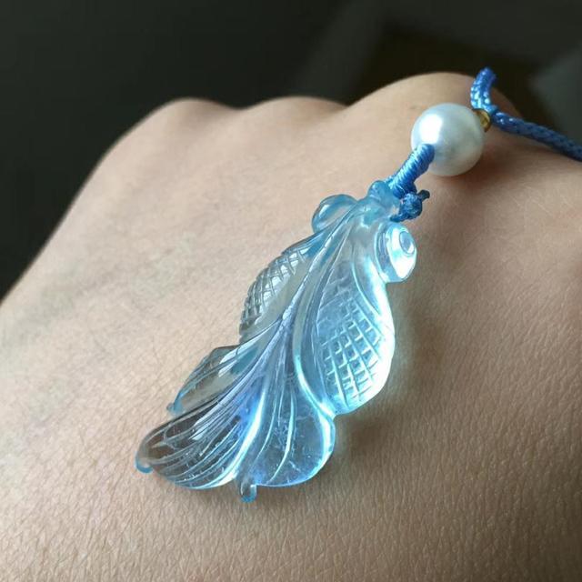 Natuurlijke Blauwe Aquamarijn Vis Hanger Kristal Voor Vrouwen Mannen 32X14X8Mm Stone Healing Beste Steen Hanger aaaaa