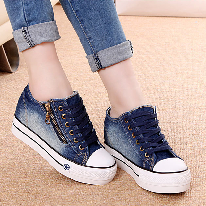 2019 Women Canvas Shoes Hidden Wedge Heels Casual Shoes Increasing Canvas Denim Shoes For Women Platform Shoes Mujer