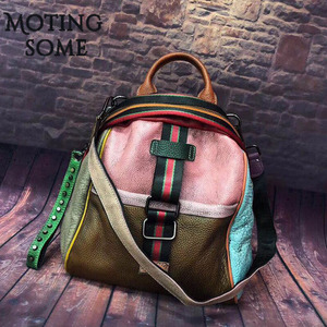 Image 1 - Vintage Genuine Leather Backpack Women Real Leather Retro Style Patchwork Travel Shoulder Bags School Ladies Mochilas 2020 New