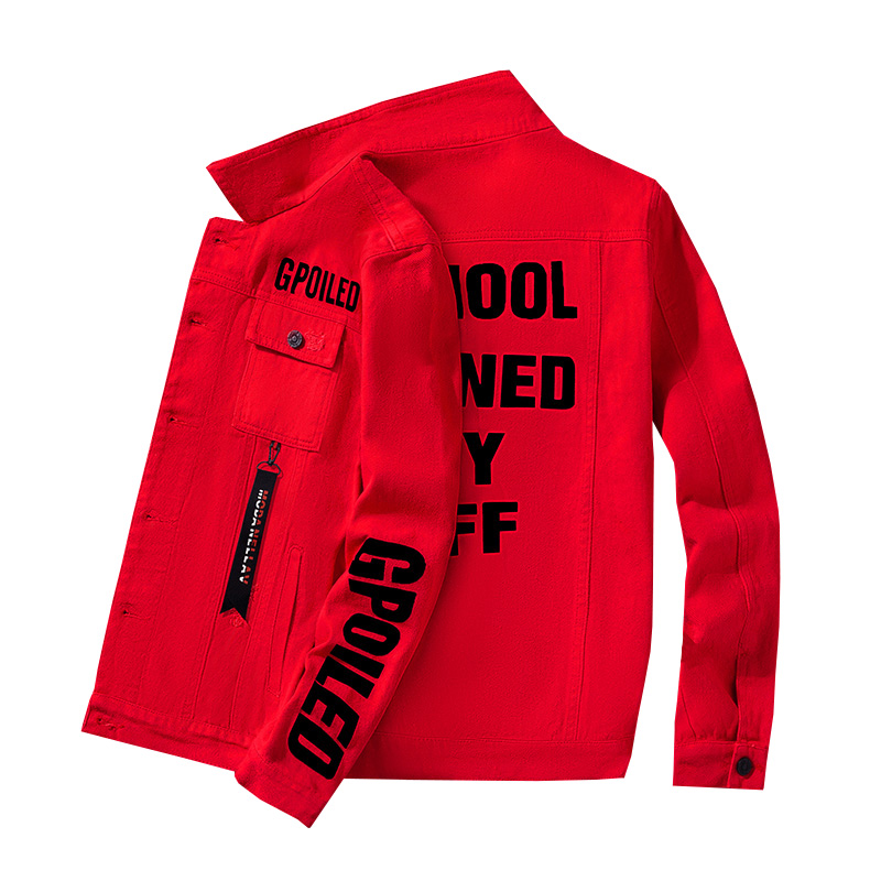 #3413 White Red Grey Streetwear Hip Hop Denim Jacket Men Letters Printed Jeans Jacket Homme Slim Bomber Jacket Coat Spring 2020