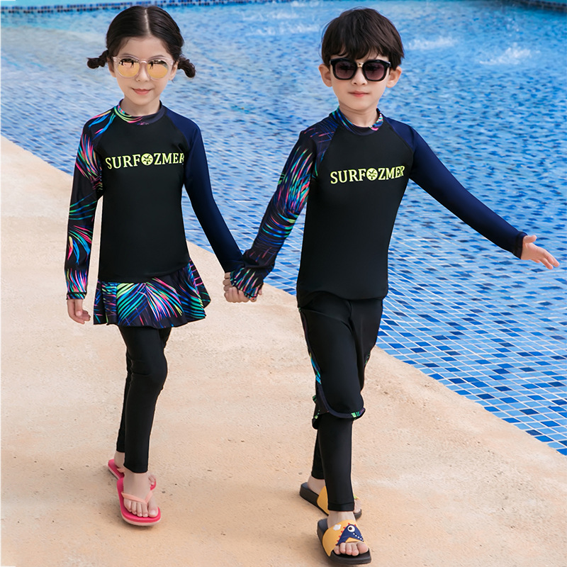 19 South Korea Children Sun-resistant Bathing Suit Long Sleeve Snorkeling Suit Girls Dress-BOY'S Split Type Big Boy Swimwear Div