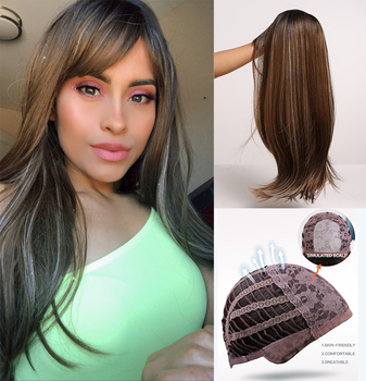 Long Straight Synthetic Wigs with Bangs Black to Brown Ombre