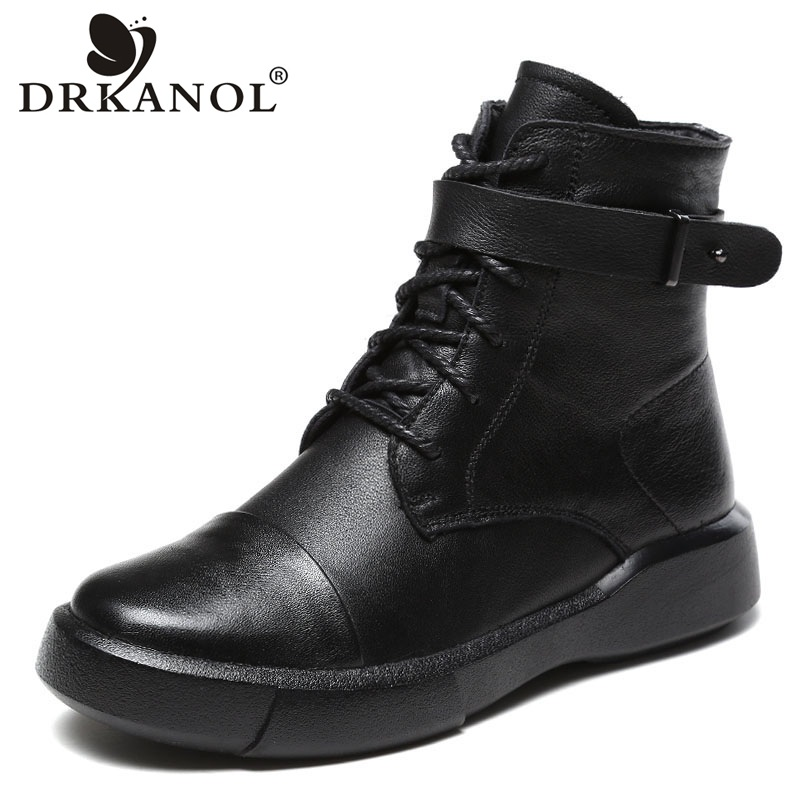 DRKANOL Autumn Winter Women Boots 100% Genuine Leather Ankle Boots Women Casual Shoes Round Toe Cowhide Flat Short Boots Female