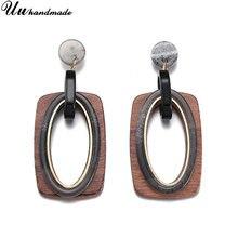 Модные Акриловые Серьги brincos деревянные серьги для женщин