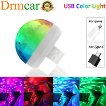 USB Ambient Light Car Accessories DJ RGB Mini Colorful Music Sound Led Apple Interface Party Atmosphere Interior Dome Trunk Lamp