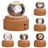 Carved Music Box Applicable Occasions Holiday Gifts Wedding Crystal Ball Rotate Light Wedding Valentine Gifts Desktop Decor