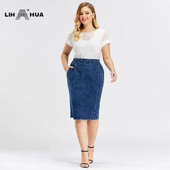 LIH HUA Women's Plus Size Casual Denim Skirt High Flexibility Fashion Skirt Knitted Denim