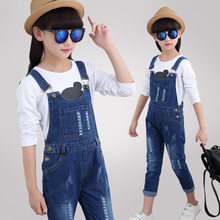 Spring Autumn Children Jumpsuit for Girls Ripped Jeans Suspender Trousers Kids Girls Denim Overalls For Teenagers Bib Pants 4-13 rolling hem ripped design denim suspender jumpsuit