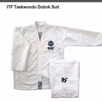 Uniforme de Taekwondo blanco de alta calidad, uniforme de Taekwondo, ropa de manga larga, Fitness, para niños y adultos