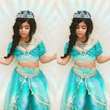 Ensembles de vêtements princesse d'halloween pour filles, jolis vêtements princesse Aladdin Jasmine, tenue de fête, déguisement Cosplay, 3-8 ans