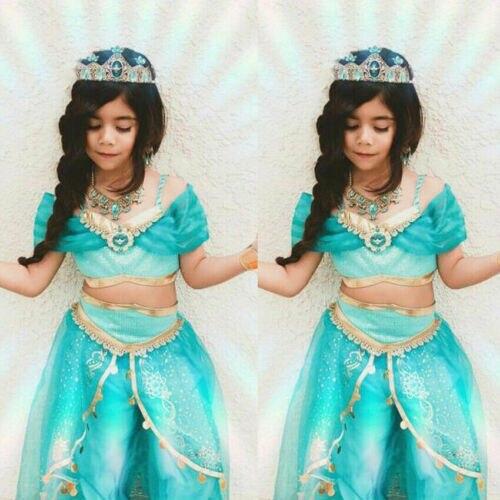 Yaz güzel Aladdin yasemin prenses cadılar bayramı prenses kız elbise setleri Cosplay kostüm partisi kıyafetler 3-8Y