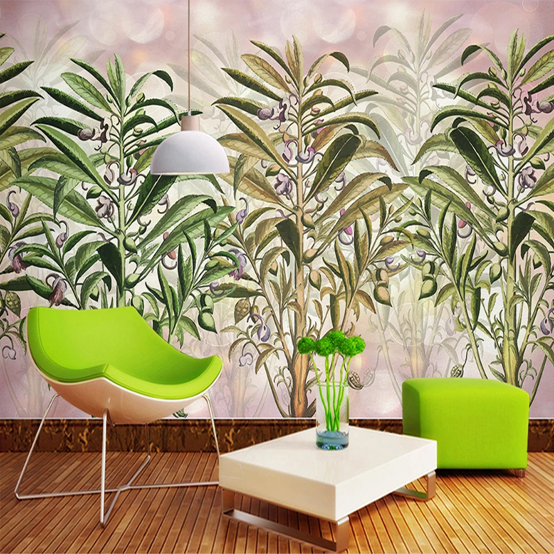 Custom Photo Wallpaper Plant Leaves Flowers Landscape Wall Painting Modern Dining Room Bedroom Living Room Decoration Wall Mural