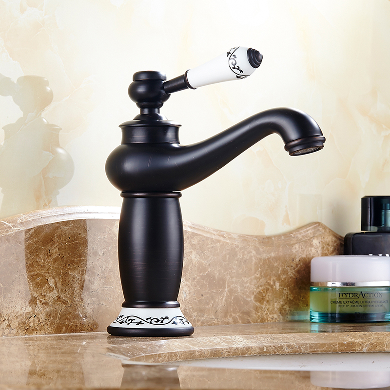 Black Oil Bathroom Basin Sink Mixer Vanity Faucet Single//Dual Handle Brass Taps