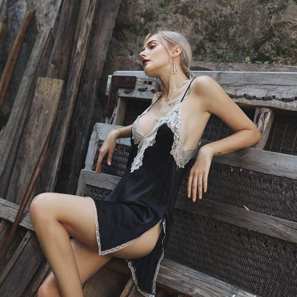 Summer Sexy Nightdress Silk Lace Sleepwear For Women Lingerie V Neck Sleeping Dress Sleeveless Open Back Nachtkleding Vrouwen