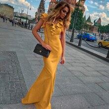 Kadınlar uzun Maxi elbise Mermaid Ruffles akşam parti elbise zarif sarı yeşil kadın sonbahar elbise Vestido de Fiesta elbise MC 2870