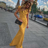 Women Long Maxi Dress Mermaid Ruffles Evening Party Dress Elegant Yellow Green Women Autumn Dress Vestido de Fiesta Robe MC-2870