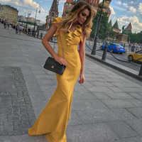 Women Long Maxi Dress Mermaid Ruffles Evening Party Dress Elegant Yellow Green Women Autumn Dress Vestido de Fiesta Robe MC-2870