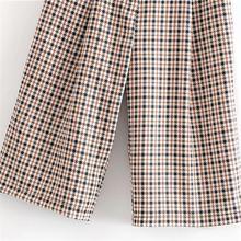 high waist long pattern casual pleated Plaid short Pants SF