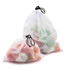 6pcs Reusable Vegetable Fruit Bags Barrel Packaging Eco Friendly Shopping Mesh Produce Bags Washable Kitchen Organizer Pouch