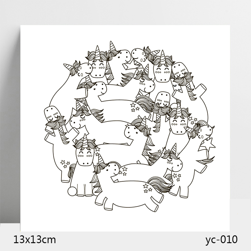 AZSG Unicorn Clear Stamps Silicone Transparent Seals for DIY scrapbooking Card Making 13 13cm in Stamps from Home Garden