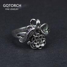 Auténticos anillos de plata de ley 925 con diseño de peces y flores de loto para mujer, joyería Vintage ajustable, Aneis Feminino