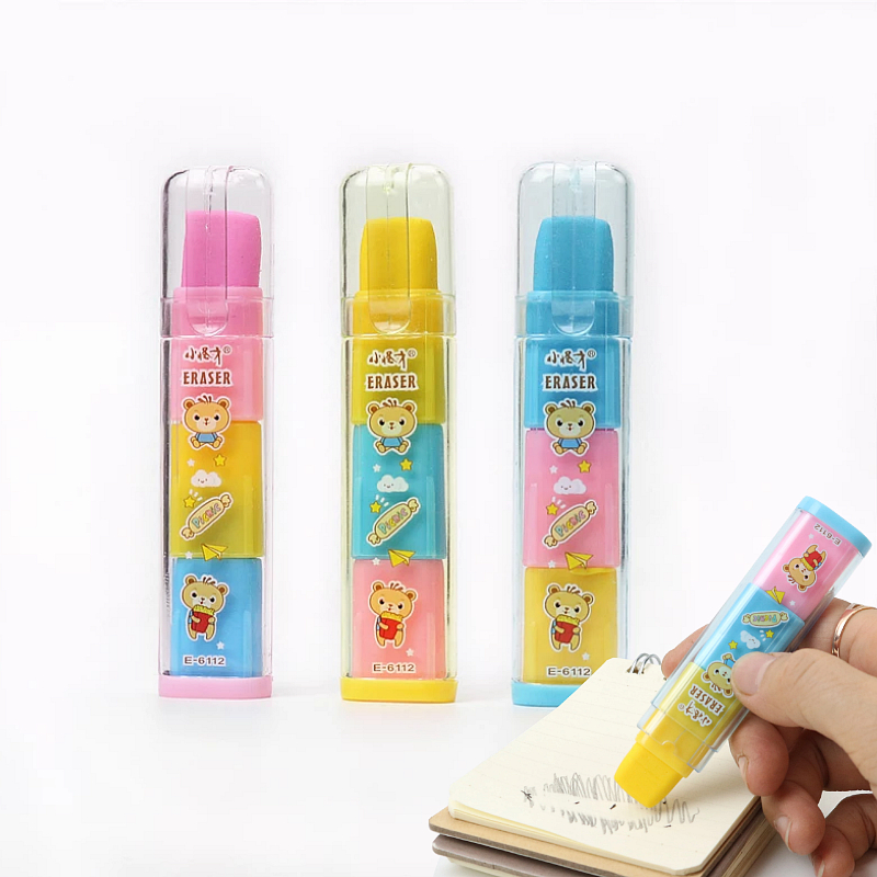 Three Layers Of Rainbow Fruit-scented Eraser Children Student Pencil Erasers PVC Bag Packaging Portable