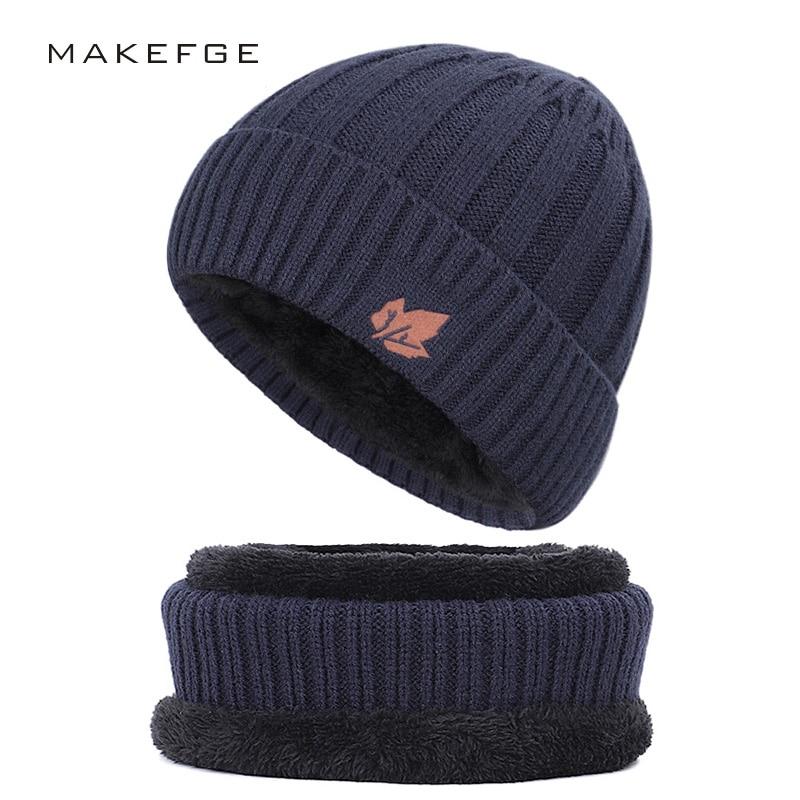 2019 Fashion Cotton Hat Outdoor Warm Casual Men's Winter Hat Bib Men And Women Knit Hat Velvet Thick Warm Scarf Hat Men's Peas